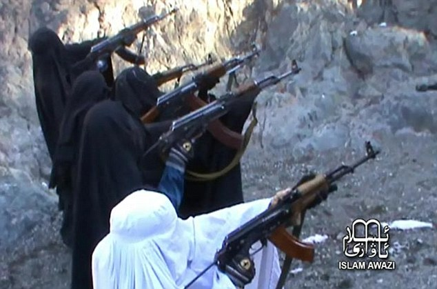 Taliban unveils female burka brigade (but how do they see what they're shooting at?)