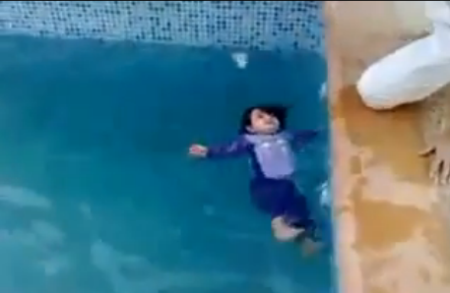 Arabs Teach A Toddler To Swim - 1